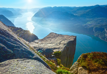 massive: Preikestolen massive cliff (Norway, Lysefjorden summer morning view)