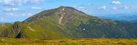 mountainside: Summer mountain view with snow on mountainside (with observatory ruins on Chornogora Ridge, Ukraine).
