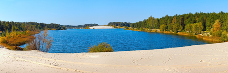 rushy: Autumn lake with sandy shore and coniferous forest (Belarus).
