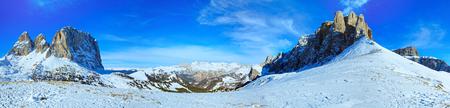 sella: Beautiful winter mountain panorama (Sella Pass , Italy). Stock Photo
