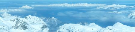 hazy: Winter hazy view from Dachstein mountain massif top (Austria).