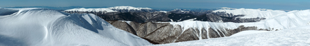 cold season: Winter mountain landscape (Ukraine, Carpathian Mts, Svydovets Range). Panorama.