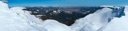 overhang: Winter mountains ridge with overhang snow caps (Ukraine, Carpathian, Svydovets Range, Blyznycja Moun).