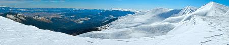 lofty: Winter mountain panorama view (Ukraine, Carpathian Mts, Svydovets Range, Blyznycja Mount). Stock Photo