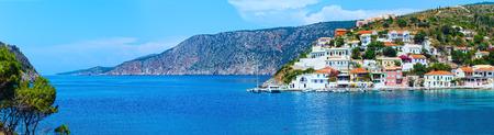 Summer sea view of Assos village (Greece, Kefalonia, Ionian Sea). Panorama.
