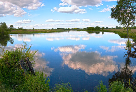 rushy: Summer evening rushy lake panorama view with clouds reflections.