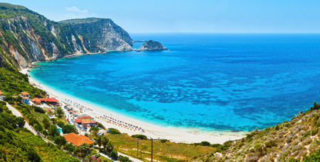 recognize: Petani Beach summer panorama (Kefalonia, Greece). All people are not recognize.