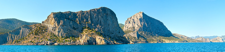 rocky coastline: Summer rocky coastline view (Crimea, Ukraine). Panorama.