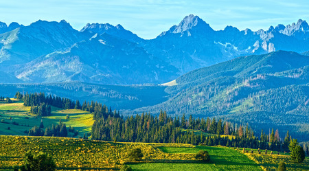 outskirts: Summer mountain village outskirts and Tatra range behind (Gliczarow Gorny, Poland)
