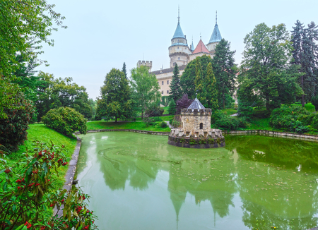 12th century: Bojnice Castle (Slovakia). Summer view with pond. Built in the 12th century, rebuilt in 1889-1910.