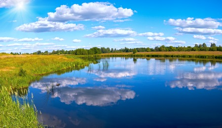rushy: Summer rushy lake panorama view with clouds reflections and sunshine.