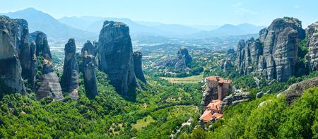 kalampaka: The Meteora - important rocky monasteries complex in Greece. Summer panorama. Stock Photo