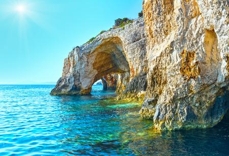 zakynthos: View of Blue Caves from boat (Zakynthos, Greece, Cape Skinari ) Stock Photo