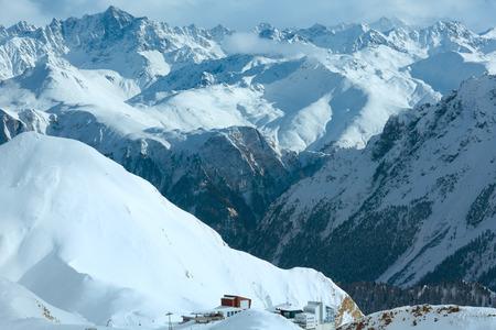 station ski: Winter Silvretta Alps landscape and ski lift station. Tyrol, Austria. Stock Photo