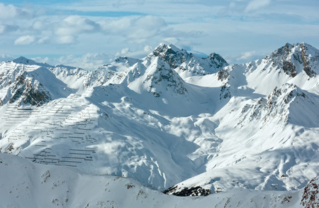 ski resort: Winter Silvretta Alps landscape. Ski resort, Tyrol, Austria.