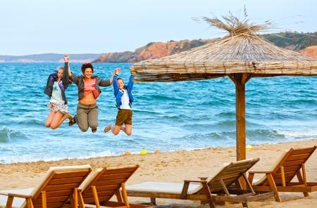 bulgaria girl: Family on the beach. Summer vacation in Bulgaria. Stock Photo
