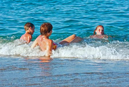 bulgaria girl: Family bathing in the sea. Summer vacation. Bulgaria.