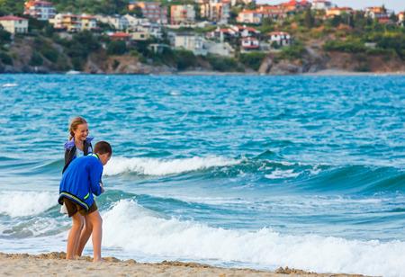 bulgaria girl: Children on the beach. Summer vacation in Bulgaria.