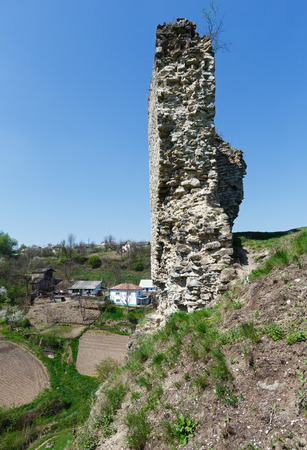 skala: The ruins of a medieval Skala Podilsky castle on the right bank of river Zbruch (Ternopil oblast, Ukraine). Construction began in 1331. Rebuilt in the first half of the XVIII century.