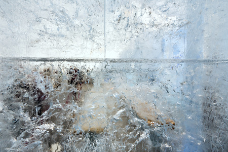 limpid: Glacial transparent wall of ice with interesting drawings and patterns