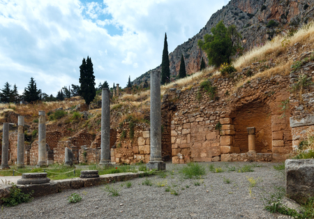 excavations: Excavations of the ancient Delphi city along the slope of Mount Parnassus(Greece)