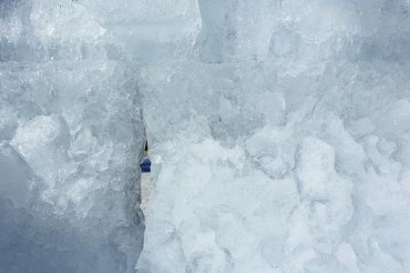 glacial: Melting glacial block of ice closeup. Background.