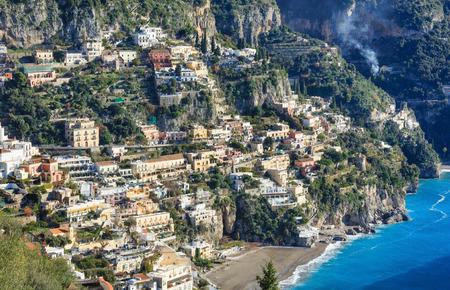 positano: Positano village coast view  on rocky hill. Amalfi, Italy. January 2015. Stock Photo