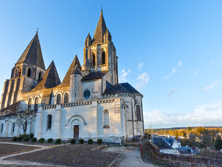 ours: Collegiate Church Saint-Ours Loches (France). Founded between 963 and 985. Stock Photo