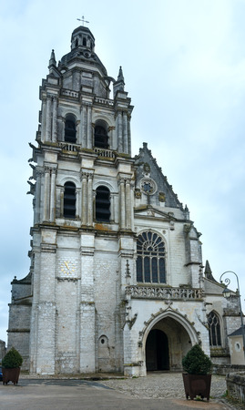 belltower: The Cathedral of Saint Louis of Blois, France.  The facade and belltower were built in 1544. Stock Photo