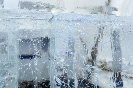 limpid: Large transparent blocks of ice with interesting drawings and patterns.