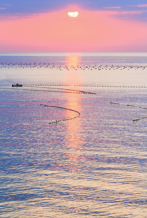 fascinate: Beautiful fascinate morning sea view with sunrise, sun track on surface and fishing nets. Man on boat is unrecognizable.