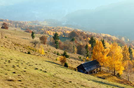 tableland: Autumn misty mountain slope with colorful trees and wooden house.