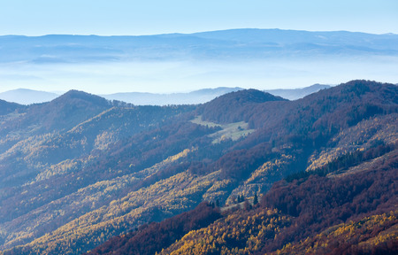 a slope: Fog in autumn Carpathian and colorful slope.