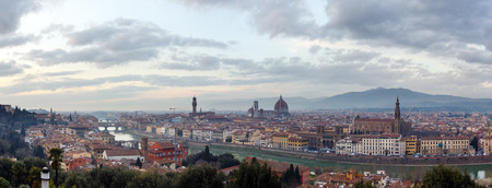 arno: Evening Florence City top view (Italy, Tuscany) on Arno river.Panorama. Stock Photo