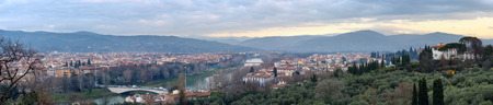 arno: Evening Florence City top view (Italy, Tuscany) on Arno river. Stock Photo