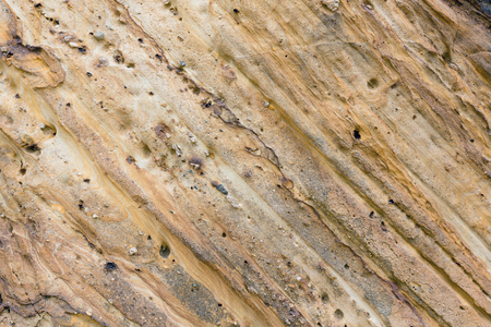 stratified: Part of strati form rock close up.