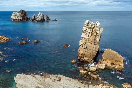 cantabria: Atlantic ocean rocky coastline near Portio Beach, (Pielagos, Cantabria, Spain)