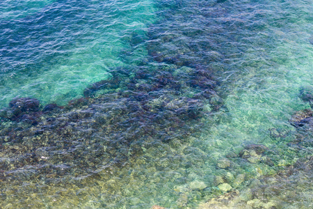 limpid: Limpid sea water surface with stones on bottom. View from above. Nature background.