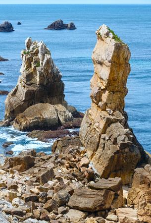 cantabria: Atlantic ocean rocky coastline near Portio Beach (Pielagos, Cantabria, Spain).