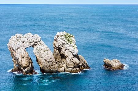 cantabria: Rock near Portio Beach. Rocky coastline in Pielagos ,Cantabria, Spain. Stock Photo