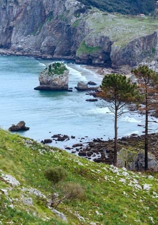 cantabria: Ocean coast spring view near San Julian Beach, Liendo, Cantabria, Spain.