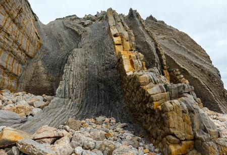 Detail of rock on Portio Beach in Pielagos,  Cantabria, Spain. Stock Photo