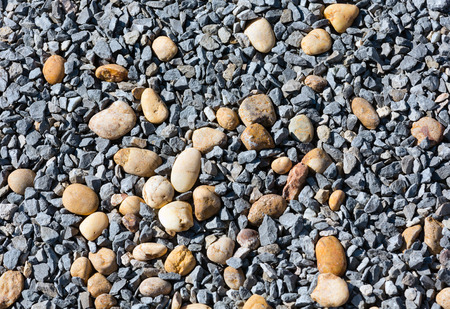 roundish: Gray gravel and yellow pebble closeup as abstract background.