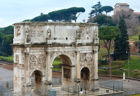 constantine: Triumphal Arch of Constantine (north side) in Rome, Italy. Build in 312-315. Stock Photo