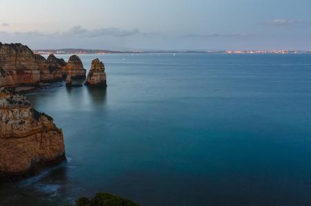 Evening Lagos town summer coastline (Ponta da Piedade, Algarve, Portugal).