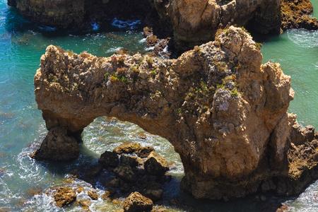 da: Rocky arch of Ponta da Piedade (Lagos, Algarve, Portugal). Stock Photo