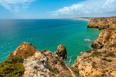 Atlantic ocean summer rocky coastline view (Ponta da Piedade, Lagos, Algarve, Portugal). Stock Photo