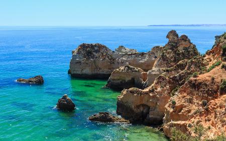 rocky coastline: Summer Atlantic rocky coastline top view (Portimao, Alvor, Algarve, Portugal).