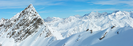 tirol: Morning winter Dolomiten mountain landscape, Tirol, Austria. Panorama.