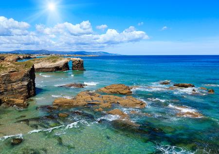 cathedrals: Sunshine cantabric coast summer landscape (Cathedrals Beach, Lugo, Galicia, Spain). Stock Photo